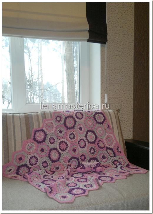 """Плед-покрывало """"Розовые сны"""", связанное крючком из мотивов, схема"""