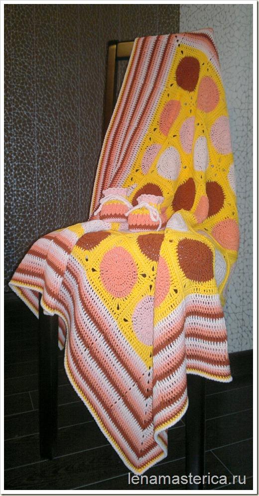 "Плед-покрывало ""Солнышко"", мастер-класс по вязанию квадратного мотива, схема"