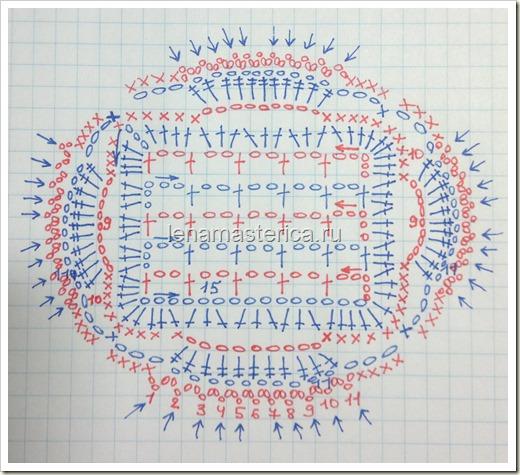 "Мотив крючком ""Квадрат в квадрате"", схема, мастер-класс"